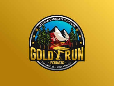 Gold Run Extracts logotype vector mountain weed bridge gold adobe ai illustration logo badge