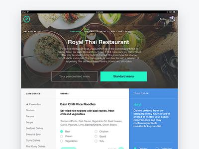 Restaurant menu page for Pickle marvel prototype ui design