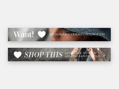 Banners for Nina Maya responsive website e-commerce banner branding