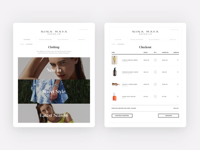 Category and checkout pages for Nina Maya e-commerce rwd ui design uxui shopify