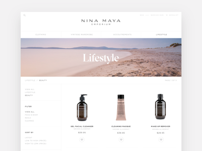 Category page for Nina Maya e-commerce site e-commerce rwd ui design uxui shopify