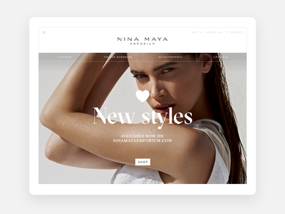 Responsive e-commerce site for Nina Maya fashion uxui ui design shopify rwd e-commerce