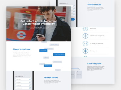 Landing page for Canary Wharf leasing app product website landing app
