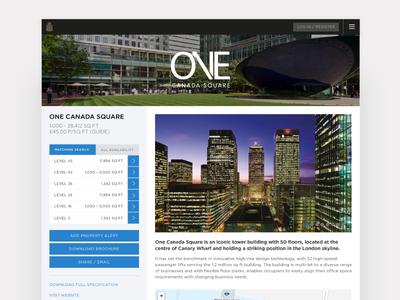 Property page for Canary Wharf leasing app ui product webapp app