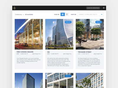 Property results page for Canary Wharf leasing app ui product webapp app