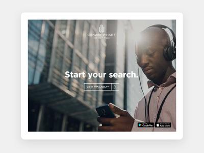 Homescreen for Canary Wharf leasing app webapp ui product app