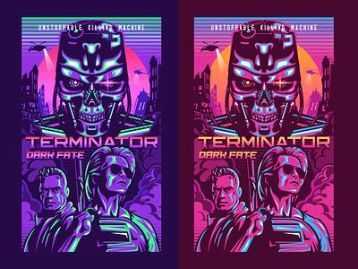 Terminator:Dark Fate Poster typography people machine killing unstoppable poster art poster fate dark terminator color design dribbble illustration