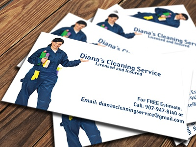Diana's Cleaning Service Business Card simple professional clean alaska anchorage small business cleaning service collateral business card