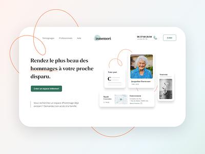 Inmemori Home Page landing website product branding desktop webdesign ux art direction ui design