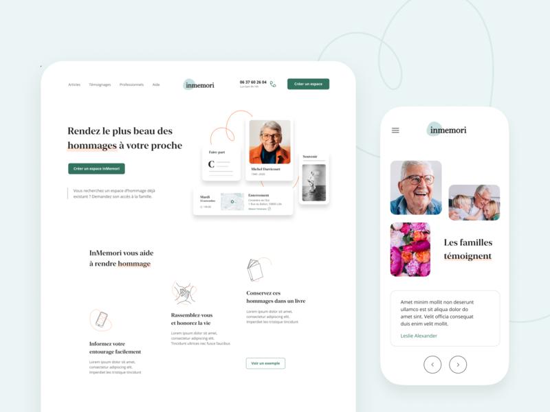 Inmemori Home Page website branding webdesign illustration desktop product ui ux home landing interface