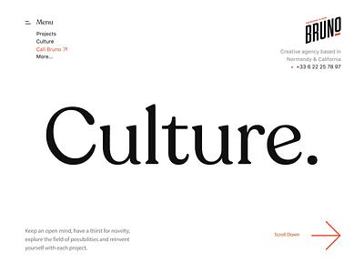 Bruno Culture Page identity branding popular bruno animation motion design branding design agenceme agency ui ux landing webdesign