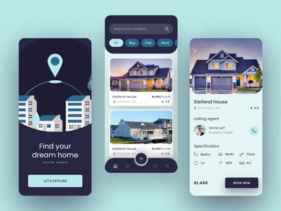 Real Estate Mobile App UI Design app design ux design pastel color ui inspiration ui design ui design concept mobile app ui design real estate app app ui design