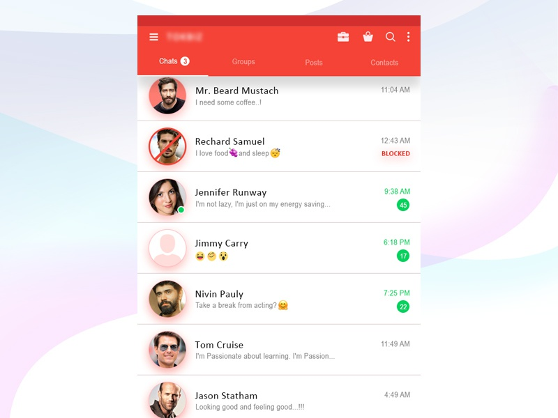 001 chat list user chat list ui design social media app chat list chat app