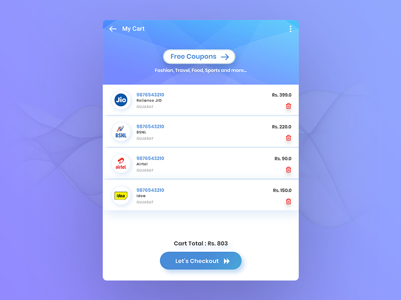 Recharge List recharge ui design free coupons recharge list