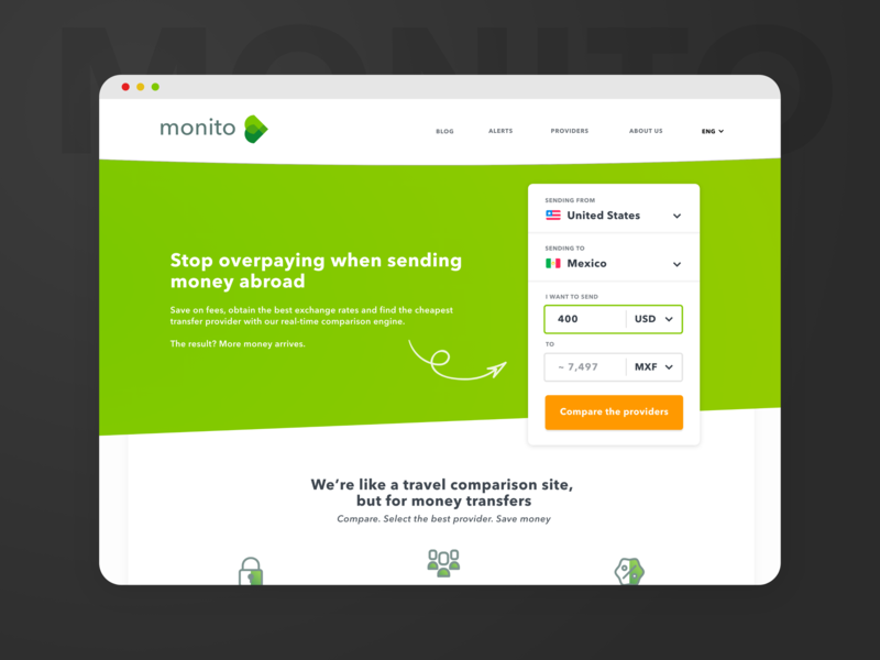 Homepage For An International Money Transfer Comparator By