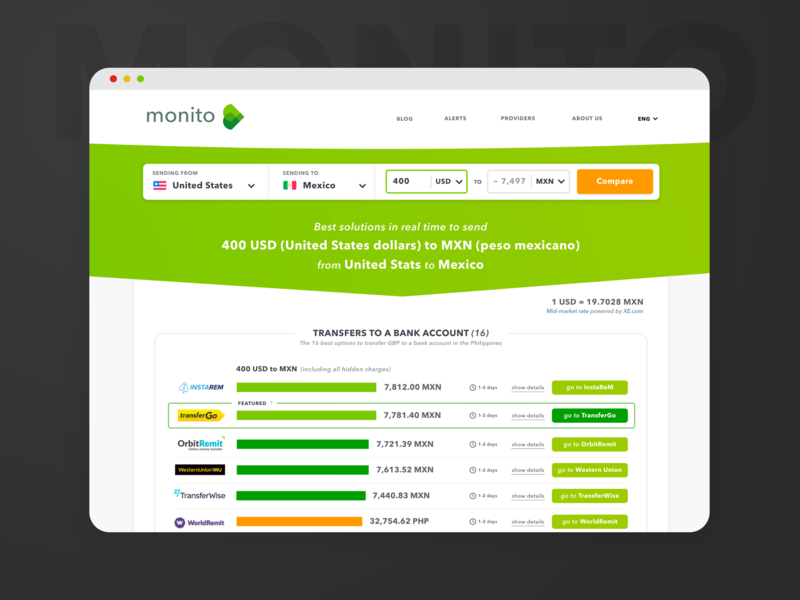 Results page for an international money transfer comparator swiss startup green webdesign monito fintech money data comparator results