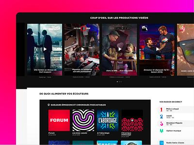 Swiss public service audiovisual company content minimal swiss website ux ui flat inspiration coffee webdesign
