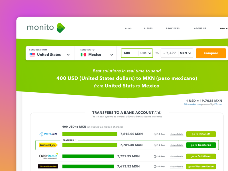Results page of a money transfer comparator swiss startup branding webdesign money transfer monito flat ux ui