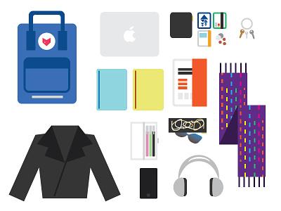 Backpack Ingredients vector illustration illustration vector objects keys cards backpack scarf journal coins