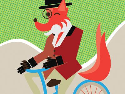 Dapper Fox On A Bike illustration art