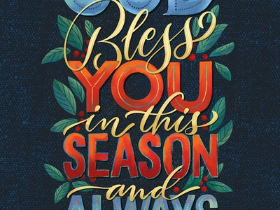Bless holiday card christmas card illustration brush lettering type typography calligraphy hand lettering hand-lettering lettering