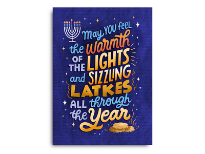 Hanukkah Light and Latkes greeting card holiday cards hanukkah card holiday card holiday design illustration type hand-lettering hand lettering lettering
