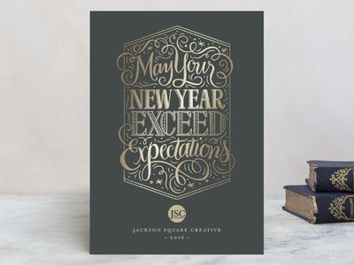 Exceed Expecations typography type hand-lettering lettering happy new year exceed expectations new year card business holiday card corporate holiday card