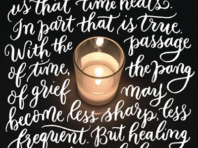 Healing  quote candle calligraphy brush lettering hand-lettering lettering grief and loss grief