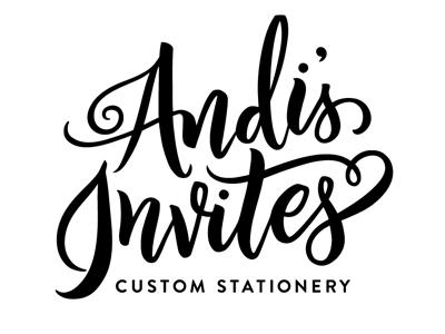 Andi's invites stationery brush lettering calligraphy hand-lettering lettering logo