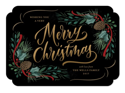 Festive Greenery brush lettering merry christmas hand-lettering holidays christmas botanicals illustration ribbon holly pine greeting card winter