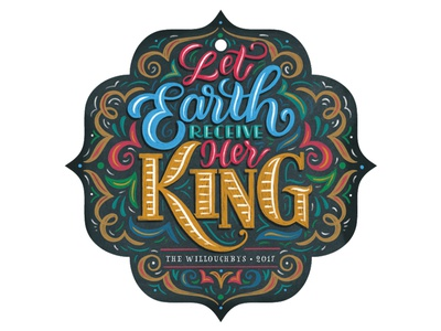 Let Earth Receive Her King faux chalkboard chalkboard chalk flourished flourishes type typography hand-lettering christmas card lettering ornament christmas