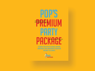 Pop's Premium Party Package Postcard colorpalette colorwork color griddesign gridwork grid layouts layout layoutdesign vector lettering identity flat clean typography type logo design branding brand