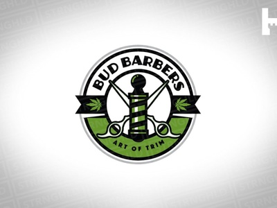 Bud Barbers Vector Logo Template barber shop 420 barbershop bold vintage cannabis branding cannabis logo weed barbers bud