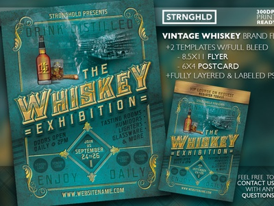 Vintage Whiskey Flyer Template Set whiskey and branding retro gold template flyer grunge vintage