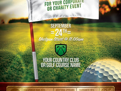 Golf Tournament Event Flyer Template By Stronghold  Dribbble