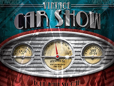 Vintage Car Show Dashboard Flyer Template By Stronghold Dribbble