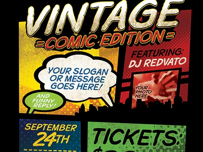 Vintage Comic Book Event Flyer Template By Stronghold Dribbble