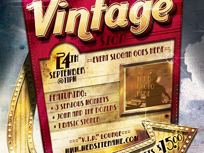 Retro Vintage Sign Event Flyer Template By Stronghold - Dribbble