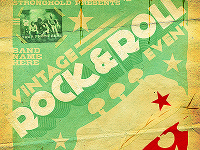 vintage rock roll concert flyer template by stronghold dribbble