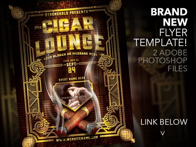 CIGAR LOUNGE FLYER TEMPLATE bling smoke cigar brand gold retro flyer template grunge vintage