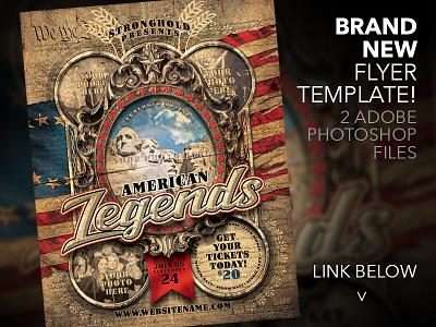 AMERICAN LEGENDS FLYER TEMPLATE historical old merica brand distressed flyer grunge template vintage