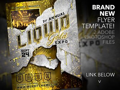 liquid gold flyer template design gold vintage template retro flyer