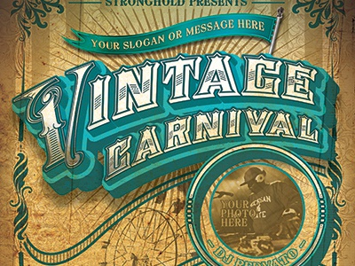 Vintage Carnival Circus Event Flyer Template By STRONGHOLD