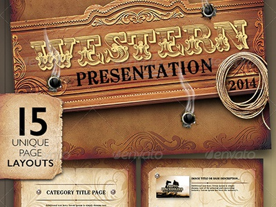 western style powerpoint presentation template by stronghold