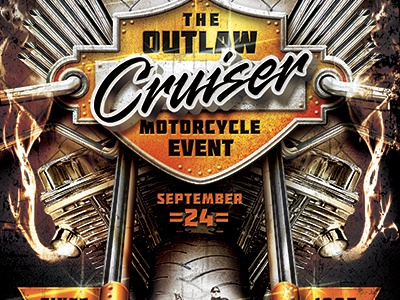 Outlaw Motorcycle Event Flyer Template By Stronghold Dribbble