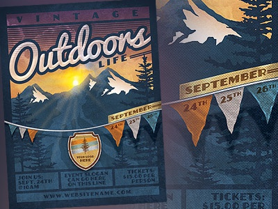 Vintage Outdoor Life Poster Template