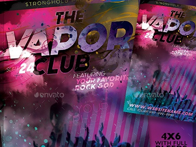The Vapor Lounge Flyer Template Set template deep rich colorful vapor nightclub club