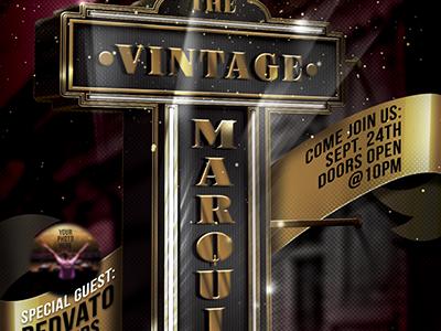 Vintage Movie Marquis Flyer Template adobe photoshop golden sign cinema hollywood movies vintage