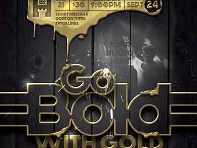 Liquid Gold Event Flyer Template shiny purple platinum pattern party flyer live liquid gold lights golden gold