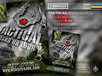 Tactical Brand Flyer Set adobe grunge army green ops military flyer brand tactical